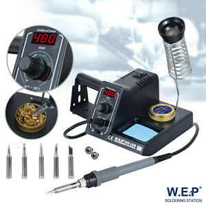 60W WEP Soldering Iron Station Rework Variable Temperature Stand Digital LED UK