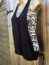 Pilot animal print vest with black overheat top ribbed hip length racer back 8