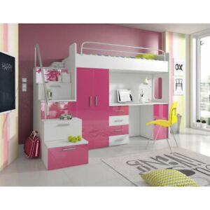 High Bed PARADISE 4S Desk Wardrobe Kids & Teenage Sleeper Many Colour