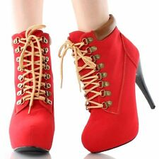 New Women Lace Up Platform Stiletto Sky High Heel Ankle Booties Work Combat Boot
