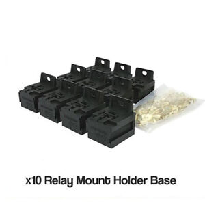 10 X Relay Mount Base Stackable to suit 4 & 5 pin automotive relays