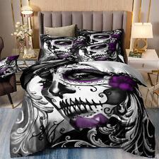 Skull Gray Duvet Cover Set for Comforter King Size Bedding Set Pillowshams US