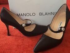 MANOLO BLAHNIK - Campari Satin Black Stiletto Heel Size 7US 37.5 - STUNNING!