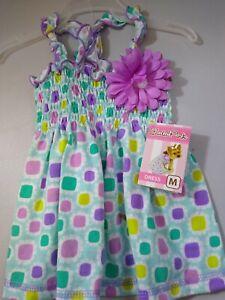 "Lulu Pink Dog Dress Medium Multi Color Sun Dress 14""-15"" Adorable New with Tags"