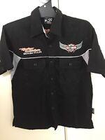 Harley Davidson Motorcycle Short Sleeve Button Up Shirt Youth Size Medium