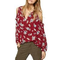 Sanctuary Womens Blaire Red Ruffled Floral Print Blouse Top S BHFO 2388