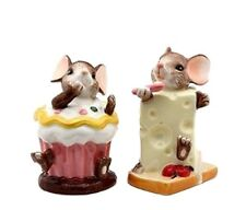 "Mouse Mice in cupcake and  Cheese Salt and Pepper Kitchen Shakers 4"" tall"