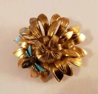 Vintage WELLS KGF Flower Pin With Dragonfly Gold Tone Brooch