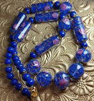 Vintage Venetian Cobalt Blue Wedding Cake Sommerso Art Glass Bead Necklace