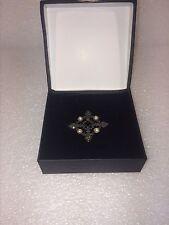 Vintage Victorian Marcasite Deep Red Garnet Pearls Silver 925 Pin Brooch