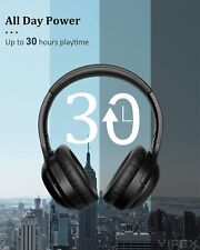 VIPEX Active Noise Cancelling Headphones Bluetooth 5.0 Wireless 30 Hrs play time