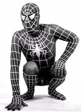 New Mens Black Spiderman Lycra Zentai Superhero Costume full Body Suit XL