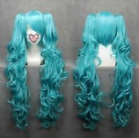 For Cosplay VOCALOID-Hatsune Miku Mixed Blue Anime Wavy Wig + 2 Clip On Ponytail