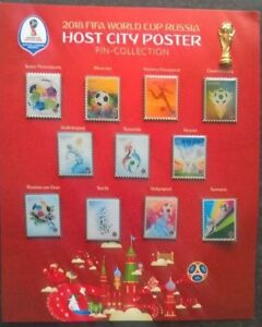 RUSSIA FIFA WORLD CUP 2018 RARE SET OF 12 PIN BADGES VENUE CITY POSTERS