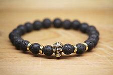 Skull Totenkopf Armband Lava Stein Antik Gold Bracelet Mode Fashion Buddha