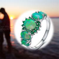 Lady Gems Opal Women Size Silver Fire & Emerald Green Jewelry 7/8/9 Ring Charm