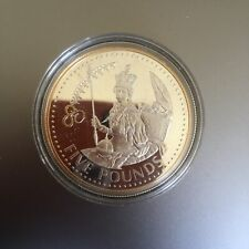COIN £5 2006 CORONATION ALDERNEY SOLID .999 SILVER WITH GOLD HIGHLIGHTS