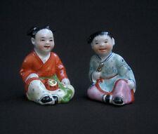 A VOIR! JAPON XIXeme, 2 SUPERBES SUJETS ENFANTS PORCELAINE POLYCHROME