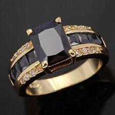 Fashion Size 8 Gorgeous Black Topaz 18K Gold Filled Men Women Anniversary Ring