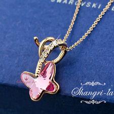 18K GOLD GF PINK Girls Butterfly Pendant NECKLACE with SWAROVSKI CRYSTAL  L322