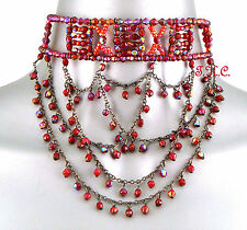 Vampire Red Aurora Goth Victorian Moulin Wedding Prom Ball Glass Choker Necklace