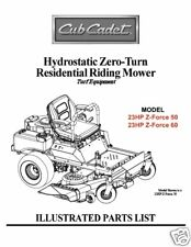 Cub Cadet Zero Turn Z-Force 50 & 60 Parts Manual