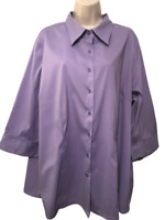 DCC Stretch Women's Blouse Plus 22/24 Purple 3/4 Sleeve Button Down Shirt