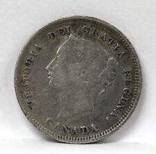 1880 H Canada 5 Cents Silver Km2 Victoria - F #01264128g