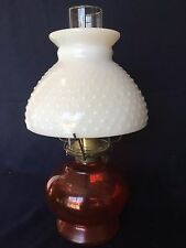 Vintage P & A Risdon Eagle Red glass Oil lamp Hobnail milk glass shade & Chimney