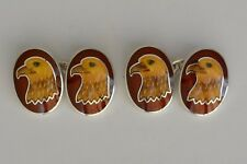 Sterling silver golden eaglle cufflinks with a red border