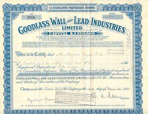 UNITED KINGDOM 1935 GOODLASS WALL AND LEAD INDUSTRIES Ltd., Zertifikat über 500