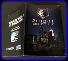 2010-11 MINNESOTA TIMBERWOLVES FS NORTH WFTC TV KFAN POCKET SCHEDULE