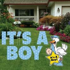 It's A Boy Yard Card - Letters & Stork Baby Announcement- 9 Pcs - Free Shipping