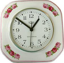 146159F Keramik Küchenuhr Artline achteckig m.Rosengirlande Pinkrand Funkuhr