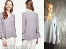 ANN TAYLOR GREY BLOUSE WITH BELL SLEEVES SIZE MEDIUM (B24)