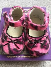 PEDIPED Baby Girl SIZE 0-6 Months Pink and Black Print Maryjane Furry Shoe New!!
