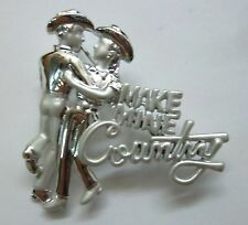 Mine Country Script Silver Plate New Country Western Signed Brooch Pin Make