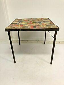 Vintage Wood Folding Table folding matchbook top card wooden Folk Art Climax 40s