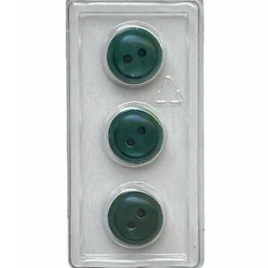 """Dill Buttons 1/2"""" 13MM Iridescent Green Convex 2-Hole Type #1261 Made in Germany"""