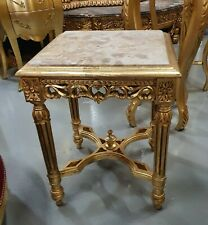 TABLE BAROQUE STYLE SIDE TABLE GOLD WITH MARBLE TOP  #MB6