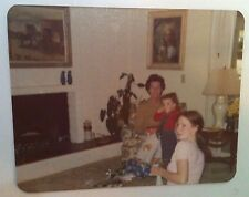 Vintage 70s PHOTO LITTLE GIRL IN OVERALLS CURLY HAIR PRESENTS W/  MOM & GRANDMA