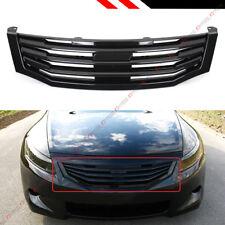 For 2008-10 8th Gen Honda Accord 4dr Sedan Glossy Black Horizontal Front Grille