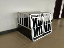 Aluminium Dog Double Door Crate Cage with Detachable Divider 91*104*70cm on sale