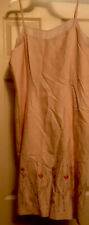 New listing laura ashley vintage pink slip dress, embroidered, pearl accents.silk/linen