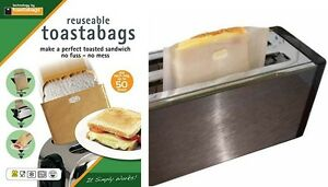 REUSABLE TOASTABAGS SANDWITCH TOASTER TOASTIE BAG BAGS TOAST BREAD PACK OF 2 NEW