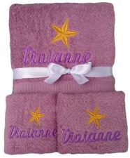 Geschenkset Stern mit Namen bestickt Geburtstag Handtuch Duschtuch Seiftuch Baby