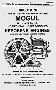 IHC Mogul 1,  1 3/4 and 2 1/2 H.P. Operating  Manual