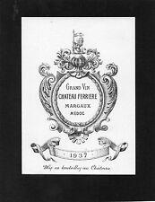 SAINT JULIEN 3E GCC VIEILLE ETIQUETTE CHATEAU FERRIERE 1937 RARE §09/08§