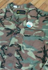 Vtg 70s Hippie Kmart Duck Camo Shirt Jacket Retro Protest Button L Vietnam Era