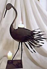 ❀ Kerzenleuchter Kranich Vogel schwarz 42cm Handarbeit Metall Teelichthalter 106